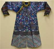 Chinese Imperial Blue Dragon Robe w/ Clouds,19th C