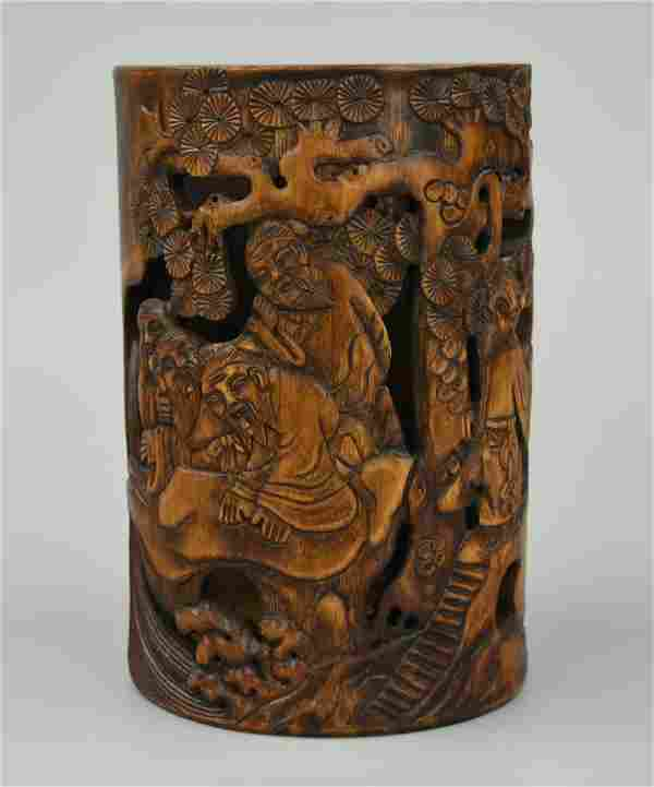 Chinese Carved Bamboo Brushpot w/ Figures,Qing D.