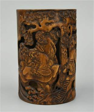 Chinese Carved Bamboo Brushpot w FiguresQing D