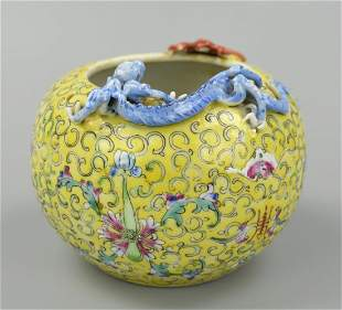 Chinese Famille Rose Washer w Chilong Bat19th C