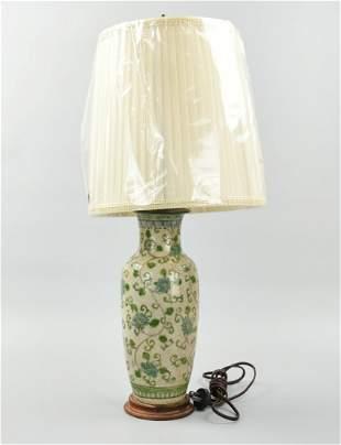 Chinese Ge Glaze Famille Rose Lamp Vase19th C