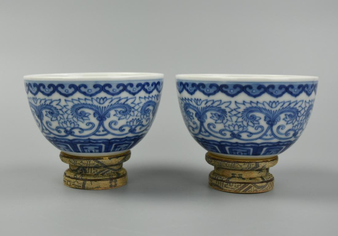 Pair of Chinese Blue & White Cups,Qianlong Mark
