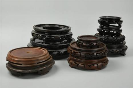 (11) Set of Chinese Wood Stand,20th C.