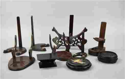 (10)Set of Chinese Wood Stand, 20th C.