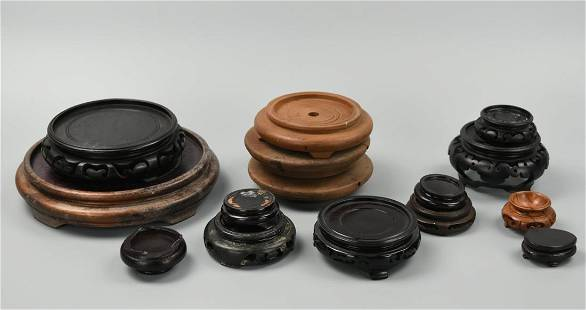 (15)Set of Chinese Wood Stand,20th C.