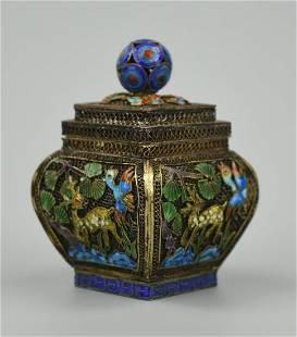 Chinese Enameled Brass Scrollwork Box w/ Deer