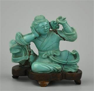 Chinese Carved Turquoise Man Reclining w/ Lingzhi