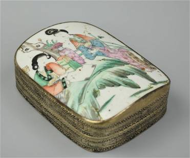 Chinese Famille Rose Porcelain Silver Box ,Qing D.