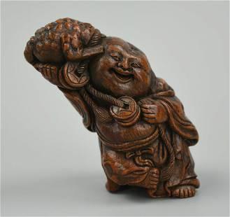 Small Chinese Wooden Bamboo Figure of Buddha