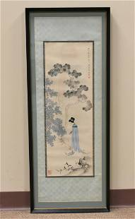 A Scroll Painting of a Woman in an Imperial Garden