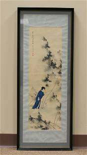A Scroll Painting of a Woman Walking in Bamboo