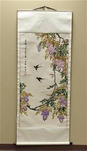 A Chinese Ink & Water Media Painting: Sparrows