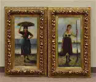 Pair Oil Painting of Girls, by G. Lenz,19th C.