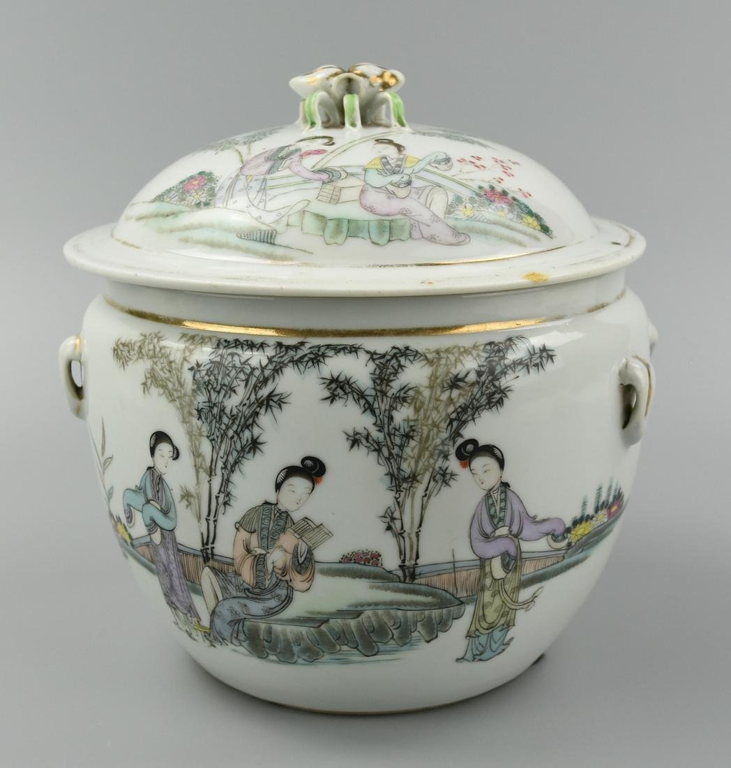 A Famille Rose Jar & Cover w/ Women, Boys, Bamboo