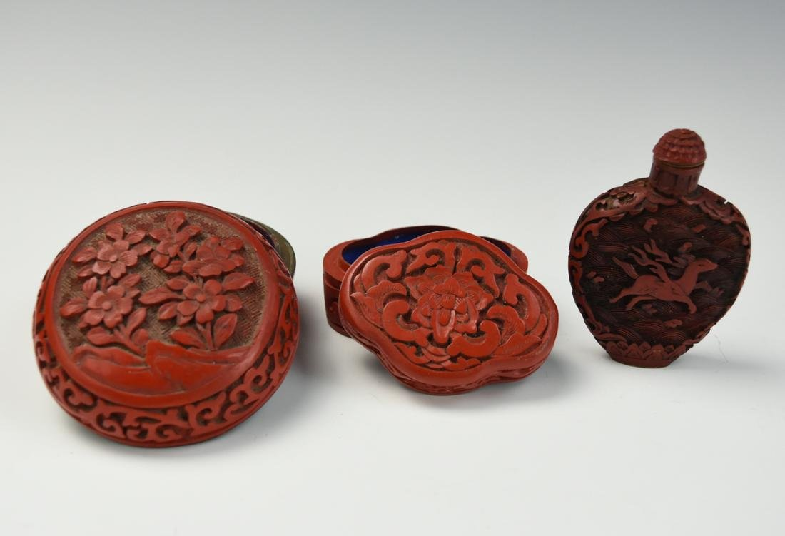 Two Chinese Carved Lacquer box & One Snuff Bottle