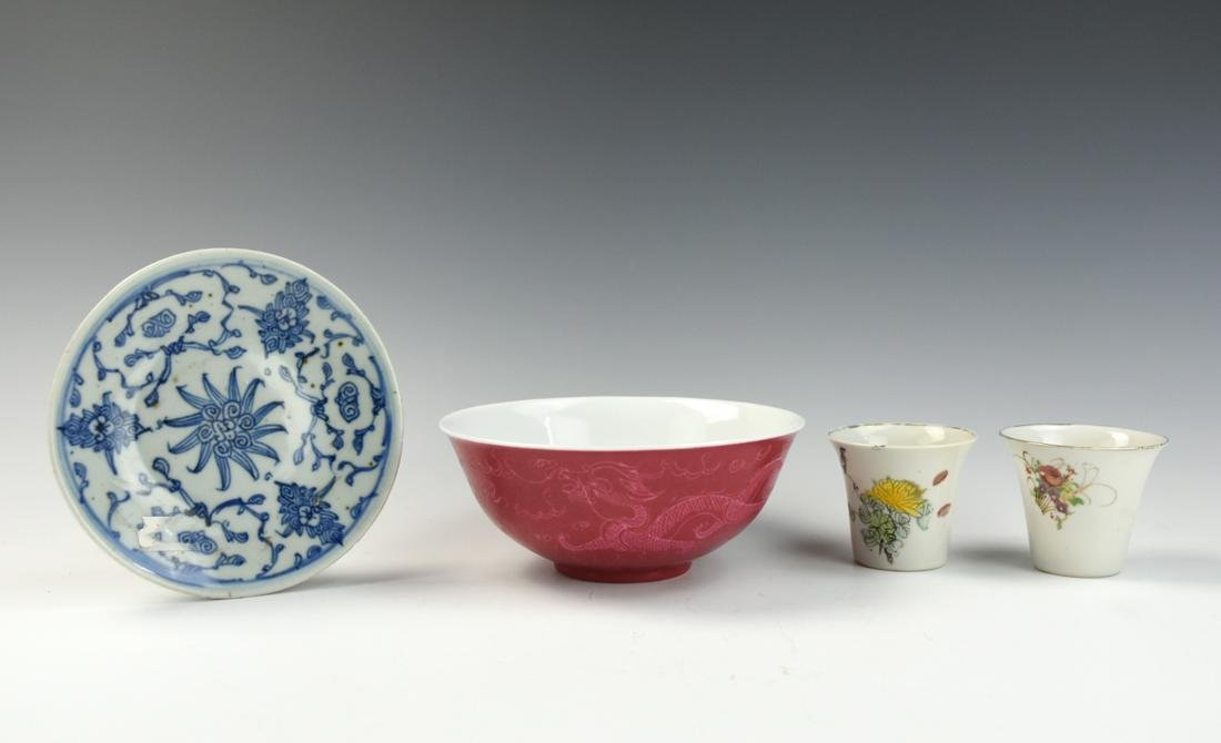 1 red glazed bowl, 2 famille rose cup, 1 b/w plate