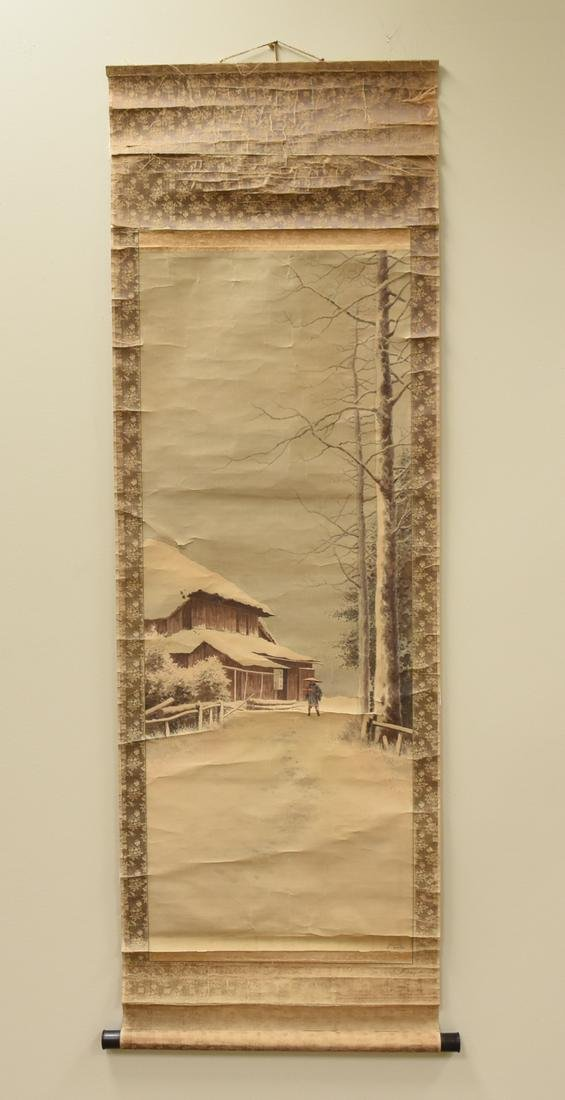 Japanese Painting of Winter Scene, 19th C.