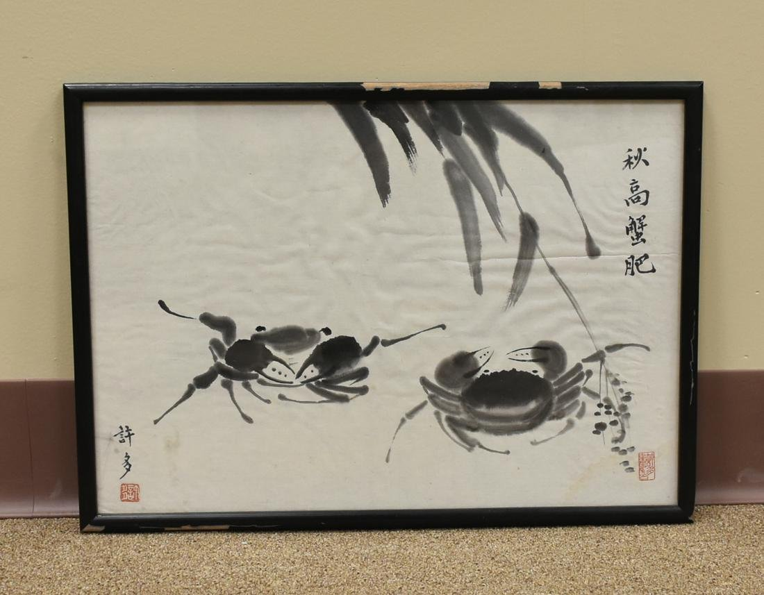 Chinese Watercolor Painting of Two Crabs by Xu Duo