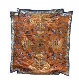 Chinese Silk Embroidery of Four Dragon Qing D