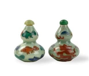Two Chinese Celadon Fish & Dragon Snuff Bottle