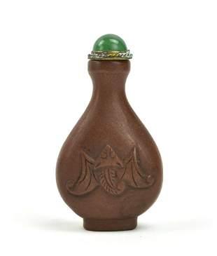 Chinese Zisha Snuff Bottle w/ Bats