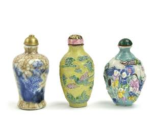 3 Chinese Porcelain Snuff Bottles, Qing D.