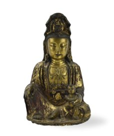 Chinese Gilt Lacquer Bronze Songzi Guanyin ,Ming D