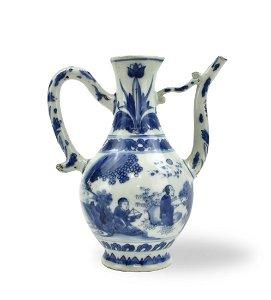Chinese Blue and White Wine Pot, Chongzhen P.