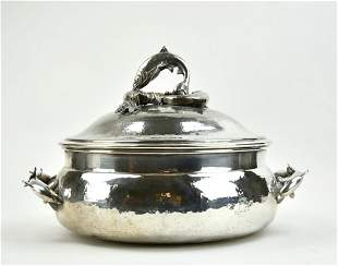 A Silver Plated Cover Casserole w/ Dolphin