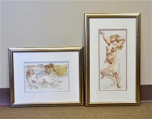 Two Watercolor Paintings, female figure