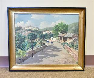 An Oil Painting, Village Scenery