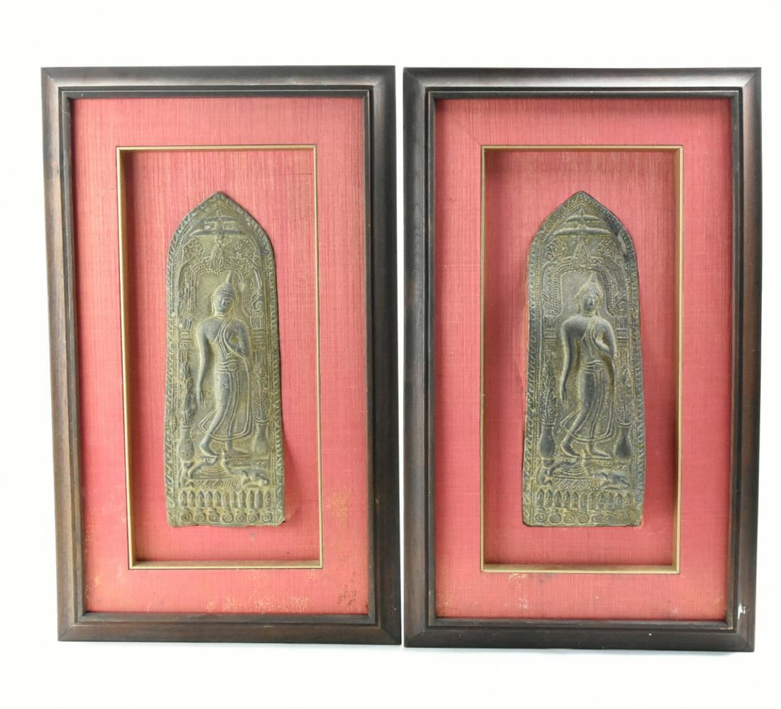 Pair of Framed Bronze Panels of Buddha