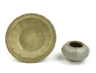 Chinese Longquan Ware Washer & Waterpot, Yuan D.