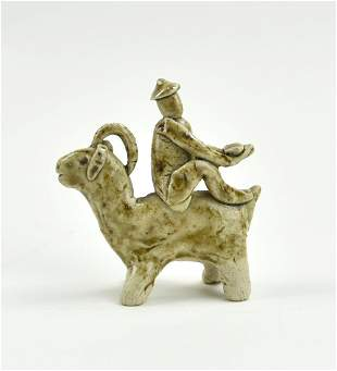 Chinese Yaozhou Ware Boy Riding Goat, Jin Dynasty