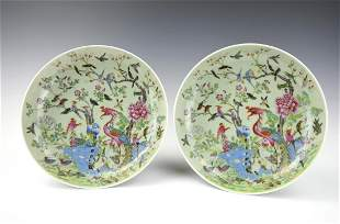 Pair Chinese Celadon Famille Rose Plates, 19th C.