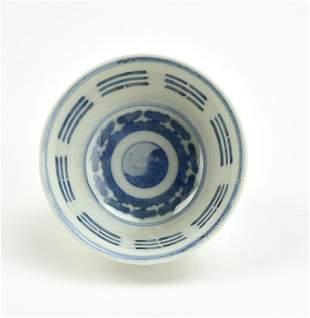 Chinese Blue & White Cup w/ Taichi Pattern