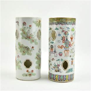 Two Chinese Famille Rose Hat Vases, 19th C.