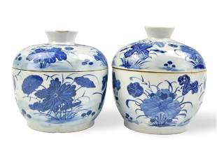 Pair of Chinese B & W Lotus Jar, 19th C.