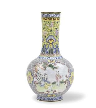Small Chinese Canton Enamel Globular Vase, 18th C.