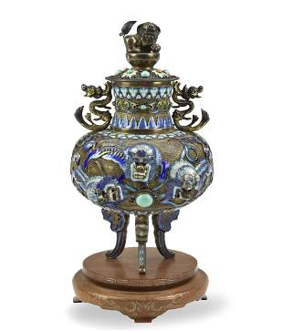 Chinese Silver Cloisonne Tripod Censer and Cover