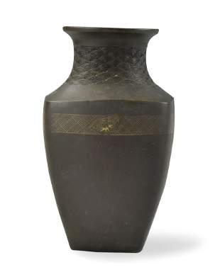 Japanese Bronze Vase w/ Gold Sliver Inlaid, Meiji