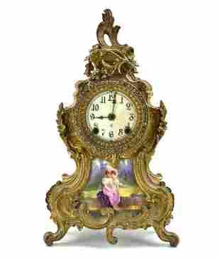 A Gilt Bronze Clock, 19-20th C.