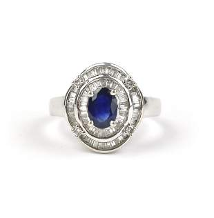 A Blue Sapphire Ring with Diamonds