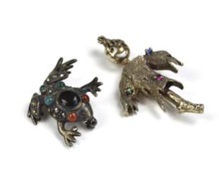 Two Silver Brooches, Frog and Strawman w/ Gems