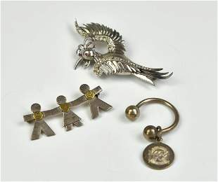 Two Silver Brooches and One Tiffany & Co. Pendent