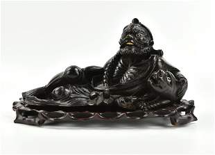 "Chinese Carved Longan Wood Carving of ""Luohan"""
