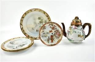 Group of Satsuma Teapot & 4 Plate,19th C.