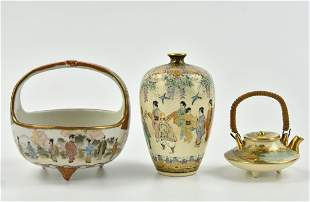 3 Small Japanese Satsama Vase,Basket,Teapot,19th C