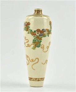 Japanese Satsuma Vase with Flower, 18-19th C.
