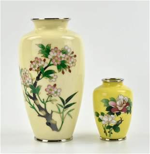 2 Japanese Yellow Enamel Vase with Flower
